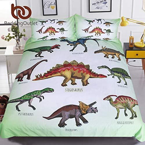 Olwen Shop Bedding Sets - Dinosaur Family Bedding Set for Kids Cartoon Bed Cover Single Boys Duvet Cover Set Jurassic Printed Bedclothes 1 PCs