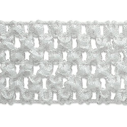 (Expo International 1-3/4-Inch Crochet Stretch Trim Embellishment, 20-Yard, White)