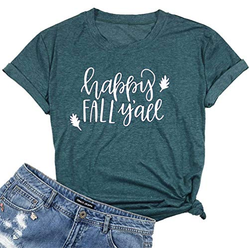 UNIQUEONE Happy Fall Y'all T-Shirt Women Thanksgiving Short Sleeve Funny Tops Tee Size M (Green)