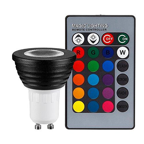 TORCHSTAR 3-in-1 RGB Multi Color LED GU10 Spotlight Kit 45 Degree Beam Angle, AC 85V-265V 3W Color Changing MR16 Light Bulb GU10 Base, Bead Surface Lens - Black