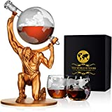 Atlas Man Whiskey Decanter Globe Set - With 2 Etched Globe Whiskey Glasses - For Whiskey, Scotch, Bourbon, Cognac and Brandy - 1000ml
