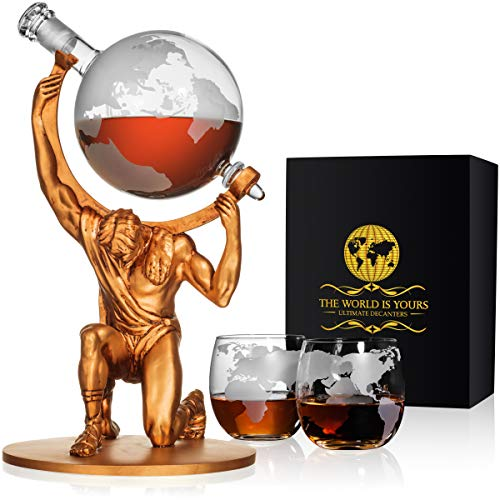 Atlas Man Whiskey Decanter Globe Set - With 2 Etched Globe Whiskey Glasses - For Whiskey, Scotch, Bourbon, Cognac and Brandy - ()