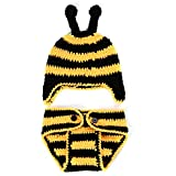 Youngate Newborn Baby Infant Crochet Photo Shoot Bumblebee Style Hat + Shorts Pant (0-3 Months-Hat Circumference:14.5-15.3inch/37-39cm, Yellow Black Striped
