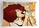 Lunarable Afro Pillow Sham, Popular Singer Karaoke Style Microphone Performance African American Woman, Decorative Standard Queen Size Printed Pillowcase, 30 X 20 Inches, Burgundy Beige Orange
