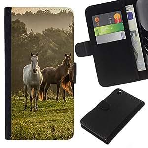 - MIST FIELD HORSES MUSTANG FOG MEADOW NATURE - - Prima caja de la PU billetera de cuero con ranuras para tarjetas, efectivo desmontable correa para l Funny House FOR HTC DESIRE 816