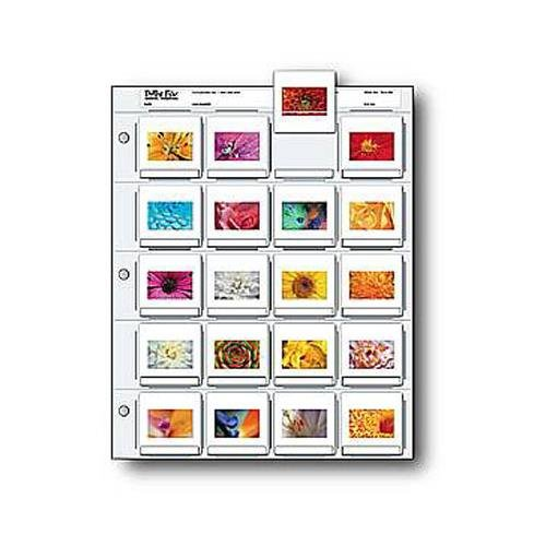 Print File 35mm Slide Pages Holds Twenty 2x2'' Mounted Transparencies, Top Loading, Pack of 500