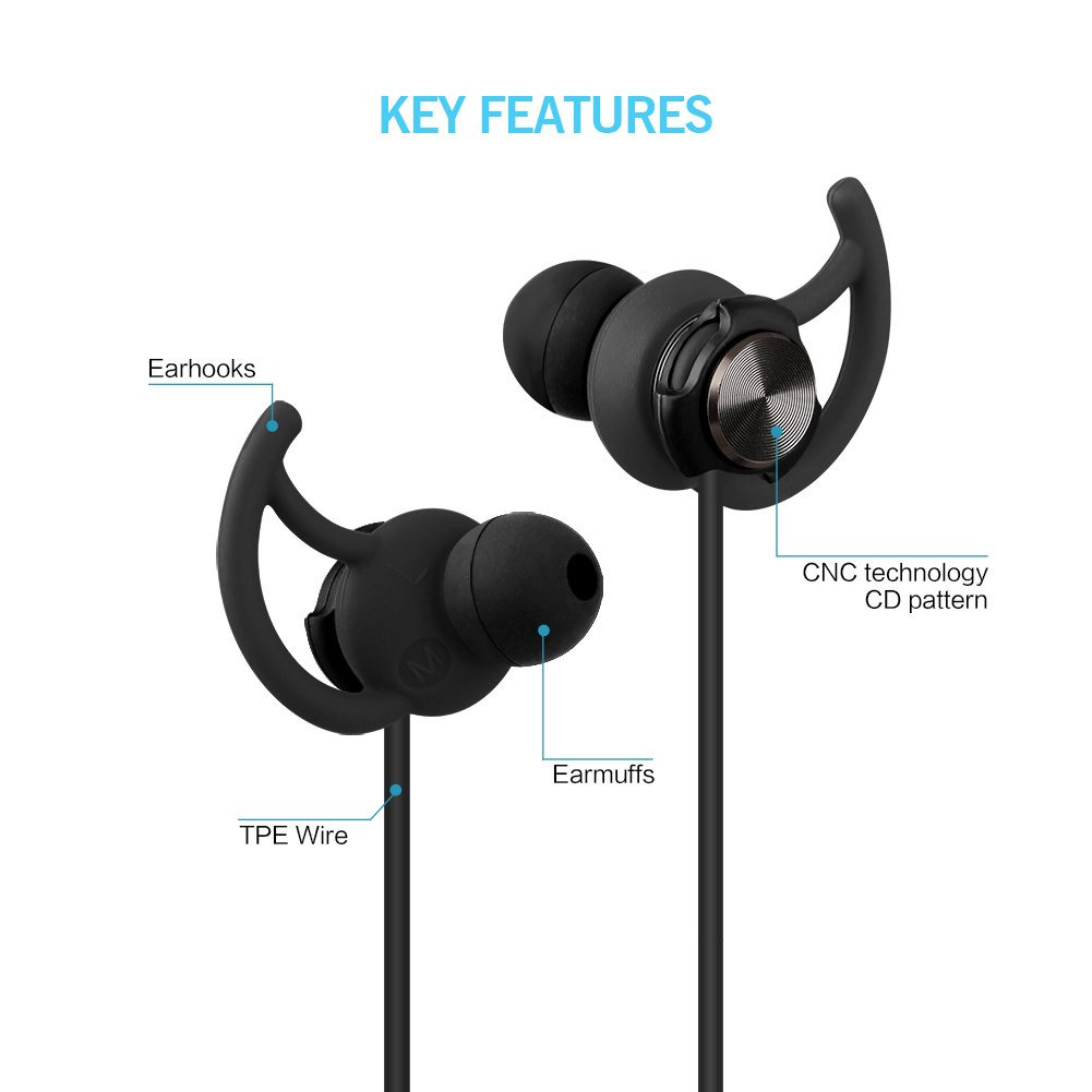 ZaKitane Wired Noise Cancelling 3.5mm In-ear Earbud HIFI Ear Hook Sport Running Earphones Stereo Bass Headphone with Microphone for iPhone iPad Android Phones Windows Phones MP3 MP4 and Tablets Black