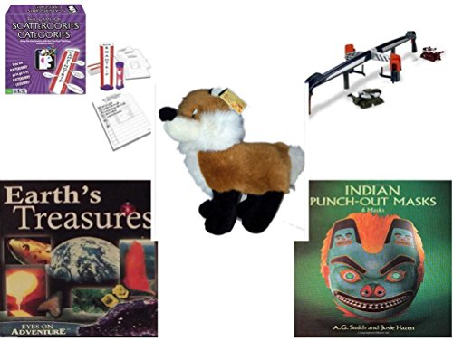 """Children's Gift Bundle - Ages 6-12 [5 Piece] - Scattergories Categories Game: A Fun Twist on the Fast Thinking Original - Hot Wheels: Battle X Arena Toy - Diamond Plush Toys Fox 13"""" - Earth's Treas -  Secure-Order-Marketplace, Ent., dbund-6-12-1237"""