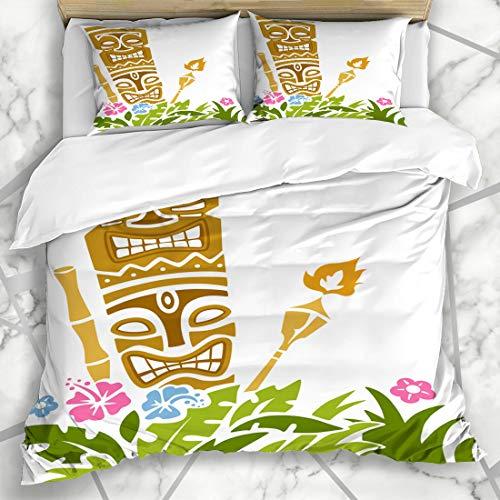 Ahawoso Duvet Cover Sets King 90x104 Torch Tiki Statue Stencil Party Hawaiian Clip Polynesian Bright Design Microfiber Decorative Bedding with 2 Pillow Shams