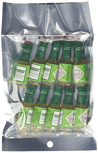 Mini Tabasco Green Jalapeno Pepper Sauce Bottles 1/8 Oz. - Pack of 10 Little Bottles