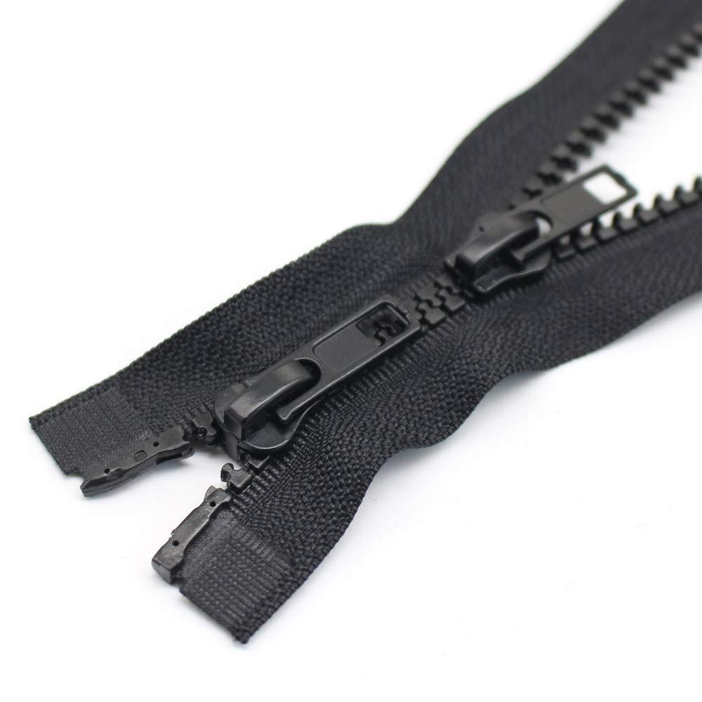 48 TW Black YaHoGa 2PCS #5 48 Inch Two Way Separating Jacket Zipper for Sewing Jacket Coat Molded Plastic Vislon Zippers Bulk