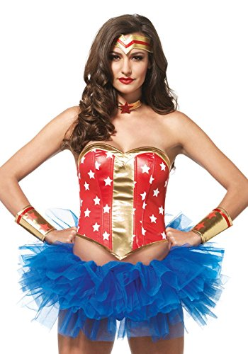 - Leg Avenue Women's 4 PIece Super Star Hero Costume Kit, Red/Gold, Small