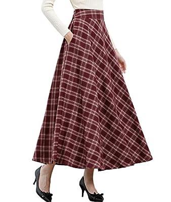 Femirah Women's Fall Winter Long Plaid Vintage Skirt