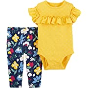 Carter's Baby Girls' 2 Piece Bodysuit and Leggings Sets (Floral/Yellow, 3 Months)