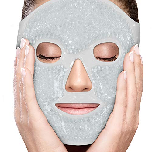 PerfeCore Facial Mask - Get Rid of Puffy Eyes - Migraine Relief, Sleeping, Travel Therapeutic Hot Cold Compress Pack - Gel Beads, Spa Therapy Wrap for Sinus Pressure Face Puffiness Headaches - Grey ()