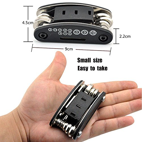 Nuoxinus Motorcycle Bike Mechanic Repair Tool Kit with 16 In 1 Multi-Function Allen Key Multi Hex Wrench Screwdriver for Home Outdoor Travel Camping Sport Bicycle Cycling