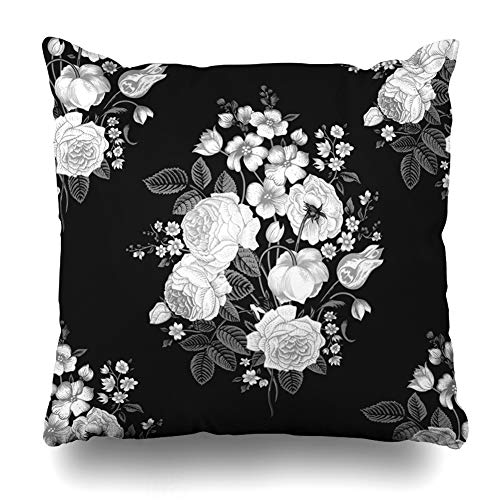(Ahawoso Throw Pillow Cover Botanical Gray Flower Vintage Pattern Victorian Bouquet Classic Floral Dark Drawing Rose Black White Home Decor Pillowcase Square Size 18 x 18 Inches Zippered Cushion Case)