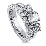 BERRICLE Rhodium Plated Sterling Silver Cubic Zirconia CZ 3-Stone Engagement Ring Set Size 6