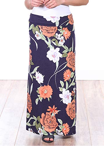Popana Womens Casual Long Convertible Print Maxi Skirt Plus Size - Made in USA DT09 XL