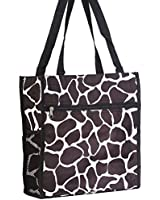 World Traveler Black Giraffe Print Travel Tote Bag 12-inch