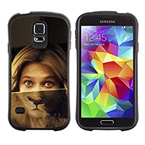 Suave TPU Caso Carcasa de Caucho Funda para Samsung Galaxy S5 SM-G900 / Portrait Woman Lion Eyes Green Blonde / STRONG