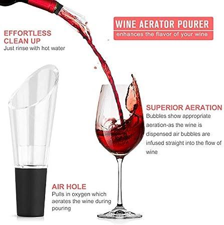 XREXS - Juego de abridor de botellas de vino 5 en 1, sacacorchos manual con cortador de papel de aluminio y sacacorchos en espiral de repuesto, tapón de vacío, vertedor de vino