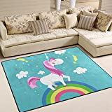 Naanle Animal Area Rug 5'x7′, Cute Unicorn Polyester Area Rug Mat for Living Dining Dorm Room Bedroom Home Decorative For Sale