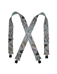 CTM® Men's Elastic 2 Inch Wide Clip-End Hand Tools Suspenders, Grey