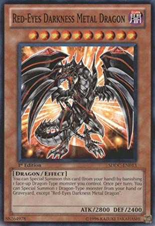 amazon com yu gi oh red eyes darkness metal dragon sddc en013
