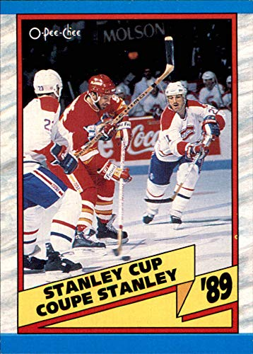 1989-90 O-Pee-Chee #329 Coupe Stanley Cup Champions CALGARY FLAMES beat MONTREAL CANADIENS    (Box71) Vintage NHL Hockey - Card Canadiens Hockey