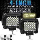 """ETbotu None 200W 4"""" LED Combo Work Light Bar Spotlight Off-Road Driving Fog Lamp Truck Boat"""