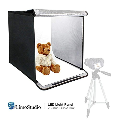 LimoStudio 20 Inch Cube Box Black LED Lighting Table Photo Shooting Tent for Commercial Product Photo Shoot, LED Panel, Color Background, Easy Install with Velcro, Photography Studio, AGG2489 - Digital Photo Cube