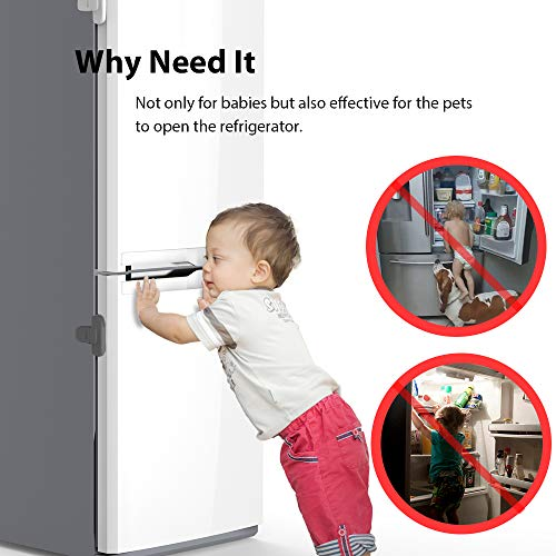 51gCSSNXWGL EUDEMON Home Refrigerator Fridge Freezer Door Lock Latch Catch Toddler Kids Child Cabinet Locks Baby Safety Child Lock Easy to Install and Use 3M Adhesive no Tools Need or Drill (Grey)    Product Description