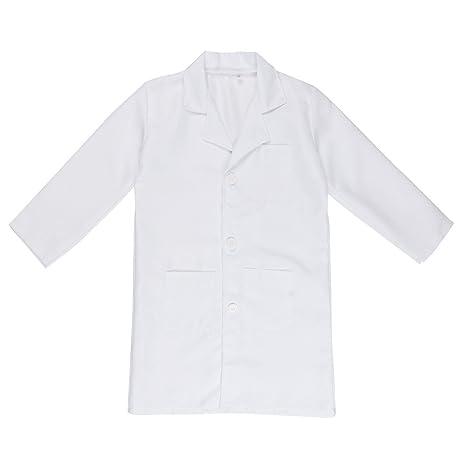 Freebily Bata Blanca Bata de Laboratorio Traje Disfraz de Doctor Enfermera Chaqueta para Niño Niña Unisex