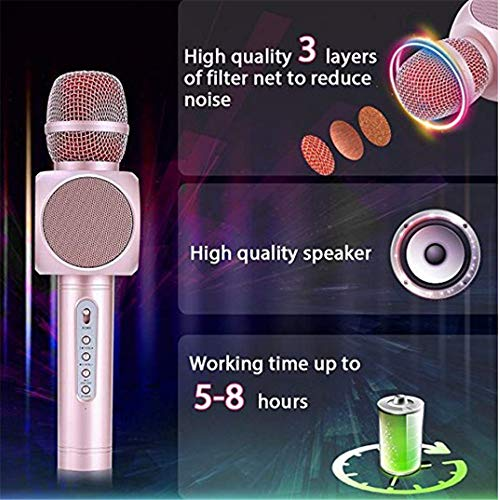Wireless Karaoke Microphone 3 in 1 Portable Bluetooth Karaoke Player System with Two Built-in Speakers Compatible with Android & iOS for Home KTV Bar Party Muisc Playing Singing & Recording Wireless B by Xiuzhifuxie (Image #3)