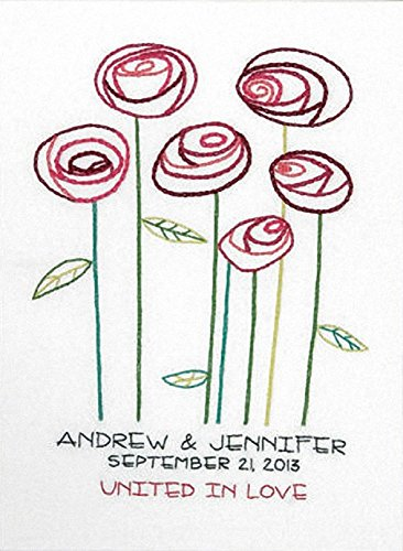 Dimensions Needlecrafts Embroidery Kit, Simple Roses Wedding Record ()