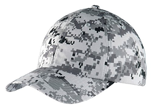 Port Authority C925 Digital Ripstop Camouflage Cap, OSFA, Grey Camo ()