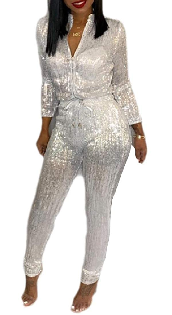 Hokny TD Womens Playsuit Cami Zipper Up Fitted Sequin Glitter Long-Sleeved Romper