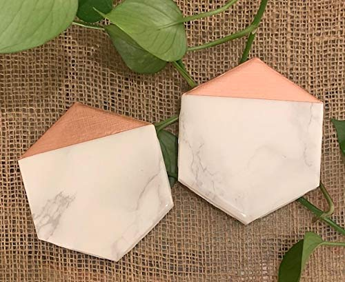 Marble and Rose Gold Dipped Coasters Set of 2 - Metallic Decor, Marble Decor, Everyday Gift, Gift for coworker, Birthday, Drinks Station Accessory, Marble Office Desk Decor, Housewarming (Rose Coaster)