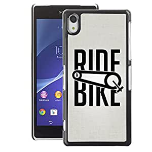 A-type Arte & diseño plástico duro Fundas Cover Cubre Hard Case Cover para Sony Xperia Z2 (Ride Bike Bicycle Sport Exercise Cyclist)