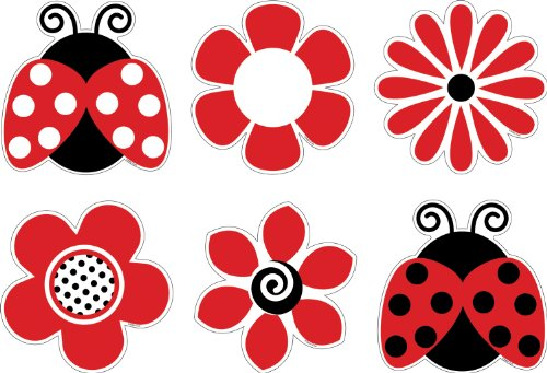 Barker Creek Bulletin Board Decorations, Ladybugs & Posies, 36-Count (LL-2201) -