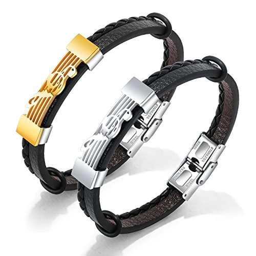(Music Note Charm Treble Clef Stainless Steel Braided Leather Wristband Bracelet Men)