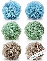 À LA PAIX Exfoliating Loofah Bath & Shower Fluffy Mesh Sponge Pouf - XL 70 gram Lufa Set of 6 (3 Spa colors)-Body & Back Scrubber Loufa for bathing-Bulk Luffa Sponges for Women & Men