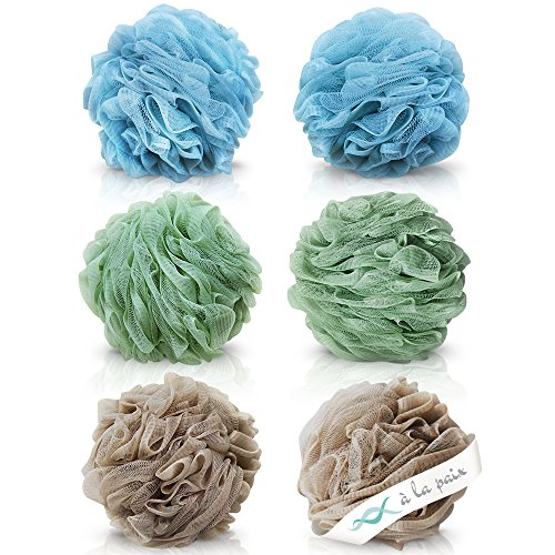 À LA PAIX Exfoliating Loofah Bath & Shower Fluffy Mesh Sponge Pouf - XL 70 gram Lufa Set of 6 (3 Spa colors)-Body & Back Scrubber Loufa for bathing-Bulk Luffa Sponges for Women & Men