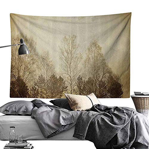 Homrkey Bedroom Tapestry Vintage Trees on Retro Aged Weathered Toned Idyllic Nostalgic Forest Landscape Rural Scenery Wall Hanging W60 x L40 Sepia