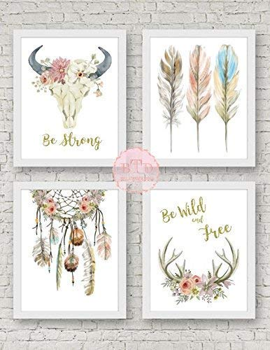 (Boho Nursery Print Wall Art Set of 4 Antlers Dreamcatcher Feathers Bull Skull Arrow Watercolor Gold Floral Baby Girl Room Prints Bohemian Decor)