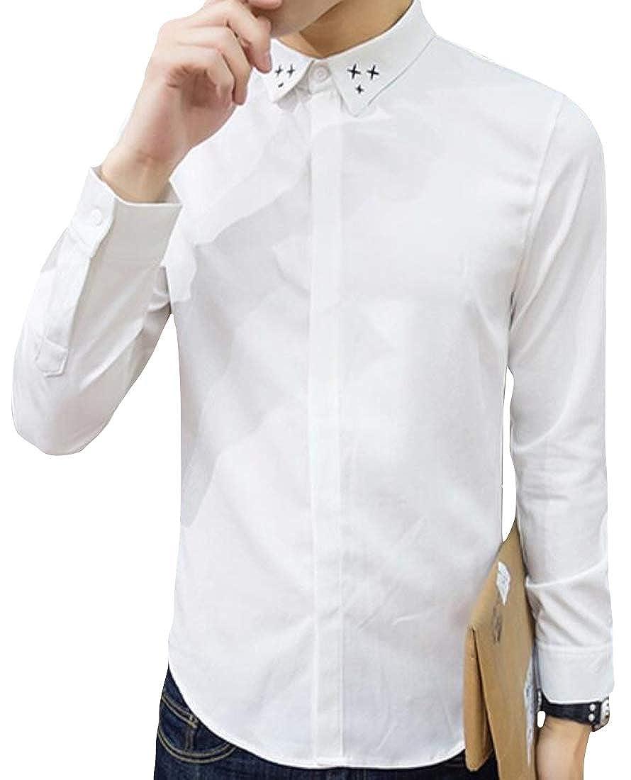 YYG Men Long Sleeve Stars Embroidery Hair Stylist Work Slim Fit Button Down Dress Work Shirt