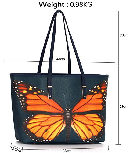 Bags Large Print Womens Oversized Shoulder Bags Extra Ladies Handbags Navy Animal Butterfly Female Folder 2 Design A4 Also fits SAwSRP