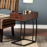 Southern Enterprises Porten Side Table in Walnut Finish For Sale