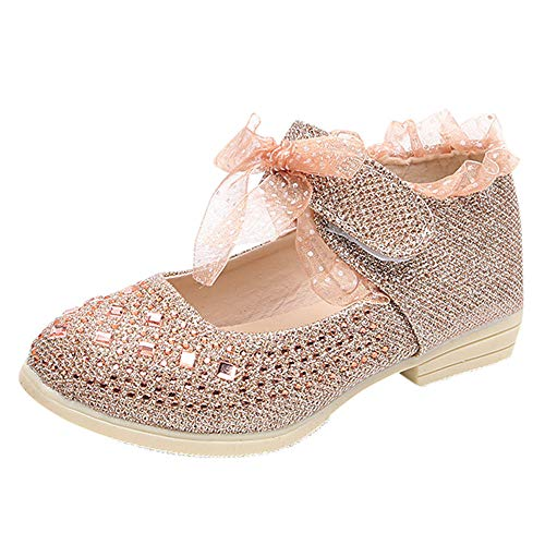 Colmkley Toddler Baby Girl Kid Princess Lace Flat Party Shiny Dress Single Shoes
